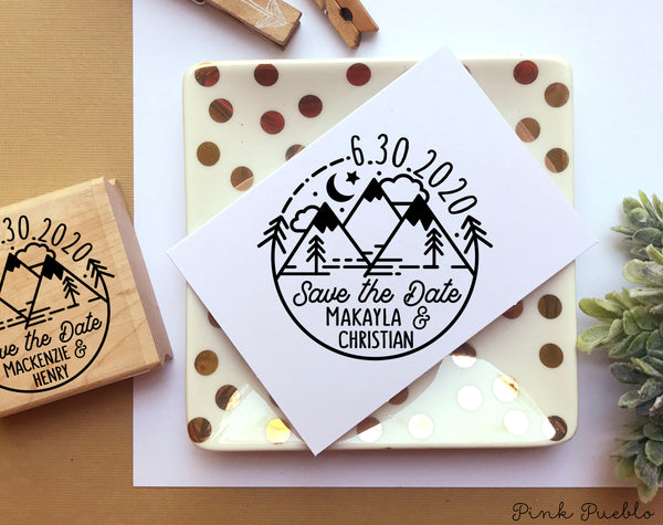 Save the Date Stamp with Mountains, Mountain Destination Wedding Stamp - PinkPueblo