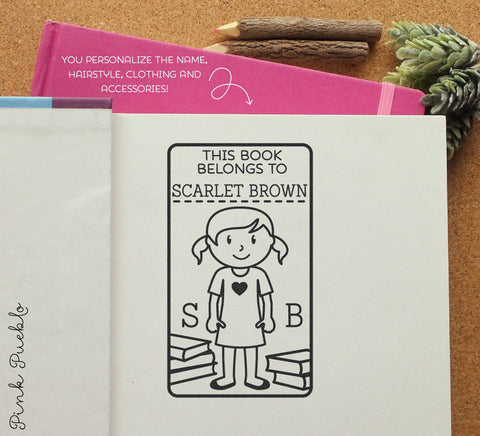Bookplate Stamp for Kids, Personalized Custom Bookplate Rubber Stamp - Choose Hair, Clothing and Name - PinkPueblo
