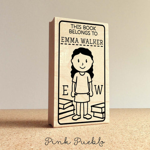 Bookplate Stamp for Kids, Personalized Custom Bookplate Rubber Stamp - Choose Hair, Clothing and Name