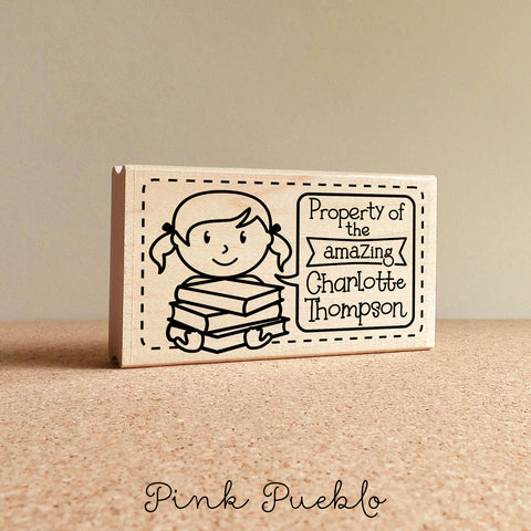 Bookplate Stamp for Kids, Personalized Bookplates for Kids - Choose Hairstyle and Text