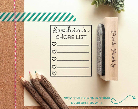 Planner Stamps, Boy or Girl Chore List Rubber Stamp, Personalized Planner Stamp
