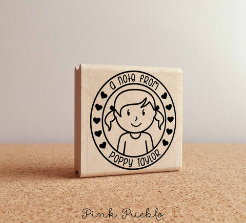 Personalized Name Rubber Stamp for Girls - PinkPueblo