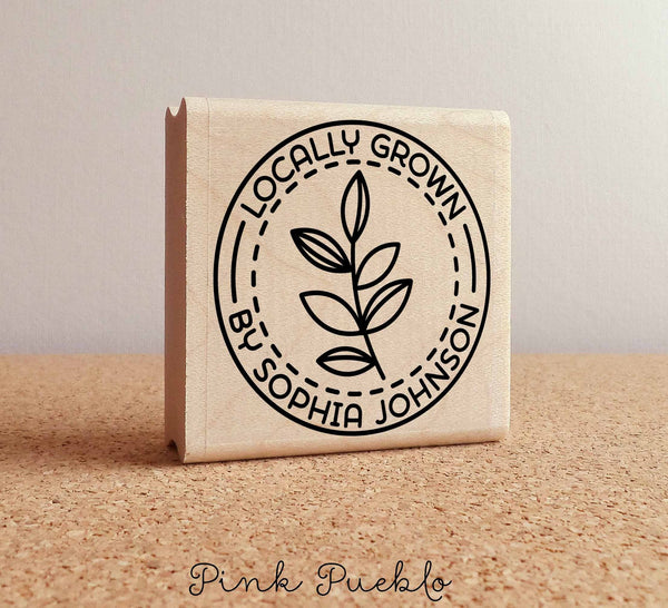 Personalized Locally Grown Rubber Stamp, Custom Locally Grown Food Stamp - PinkPueblo