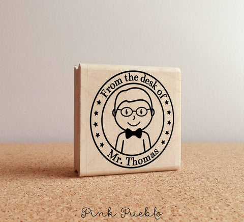 Personalized Male Teacher Rubber Stamp, Custom Teacher or Professor