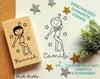 Personalized Gymnastics Rubber Stamp for Children, Custom Gymnast Stamp - Choose Hairstyle and Accessories