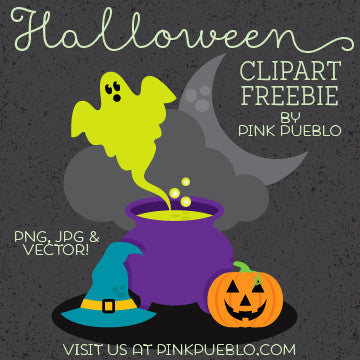 Halloween Freebie - Witch's Cauldron Clipart and Vector - PinkPueblo