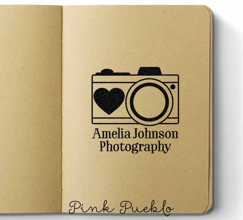 Personalized Photography Camera Rubber Stamp with Name - PinkPueblo