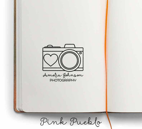 Personalized Custom Photography Rubber Stamp with Camera