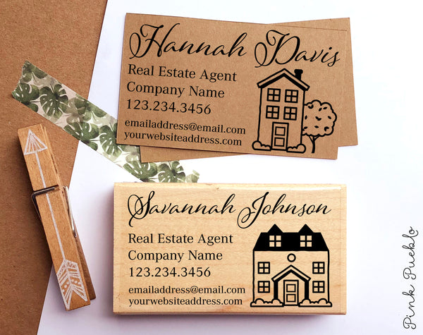 Personalized Real Estate Business Card Stamp, Real Estate Agent Business Card Stamp - PinkPueblo