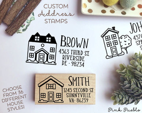 Personalized Address Stamp with House - Choose Your House