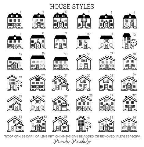 Personalized Address Stamp with House - Choose Your House - PinkPueblo