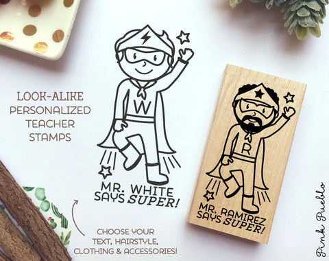 Superhero Teacher Rubber Stamp, Personalized Teacher Gift, Teacher Stamp for Grading - Choose Hairstyle and Accessories - PinkPueblo
