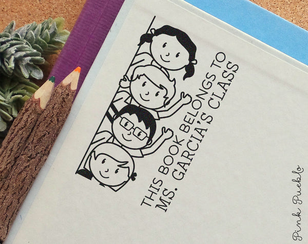 Personalized Bookplate Stamp for Teachers, Teacher Library Stamp - PinkPueblo