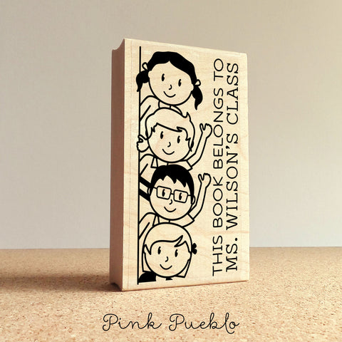 Personalized Bookplate Stamp for Teachers, Teacher Library Stamp
