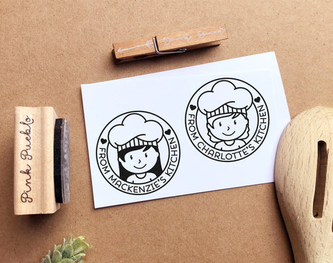 Personalized From the Kitchen of Stamp, Cooking Gift or Baking Gift - Choose Hairstyle and Accessories - PinkPueblo