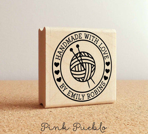 Personalized Knitting Rubber Stamp, Handmade with Love Knitting Stamp - PinkPueblo