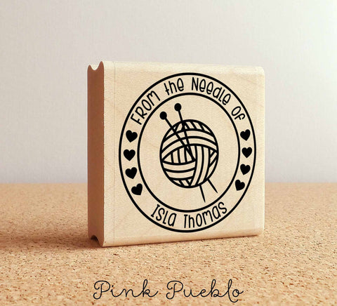 Personalized Knitting Rubber Stamp, From the Needle Of Knitting Label