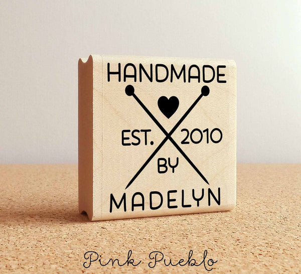 Personalized Knitting Rubber Stamp, Handmade By Knitting Custom Stamp - PinkPueblo