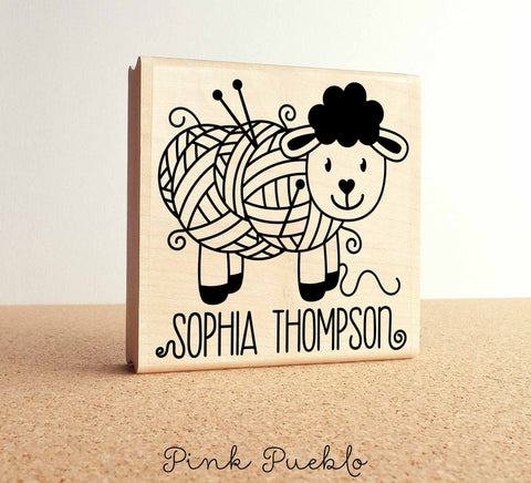"Large 3x3"" Personalized Knitting Rubber Stamp, Custom Handmade Label - PinkPueblo"
