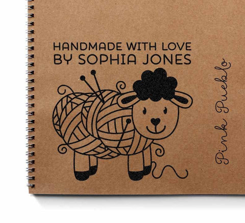 "Large 3x3"" Personalized Knitting Rubber Stamp, Handmade with Love"