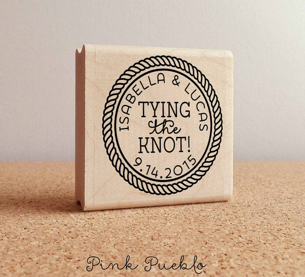 Personalized Wedding Stamp - Tying the Knot - PinkPueblo
