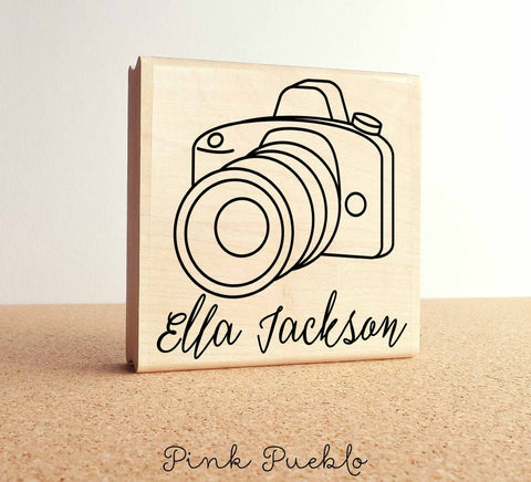 Large Personalized Photography Rubber Stamp - PinkPueblo