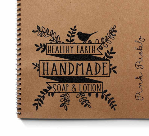 Large Personalized Bath and Beauty Product Label Rubber Stamp, Custom Botanical Stamp