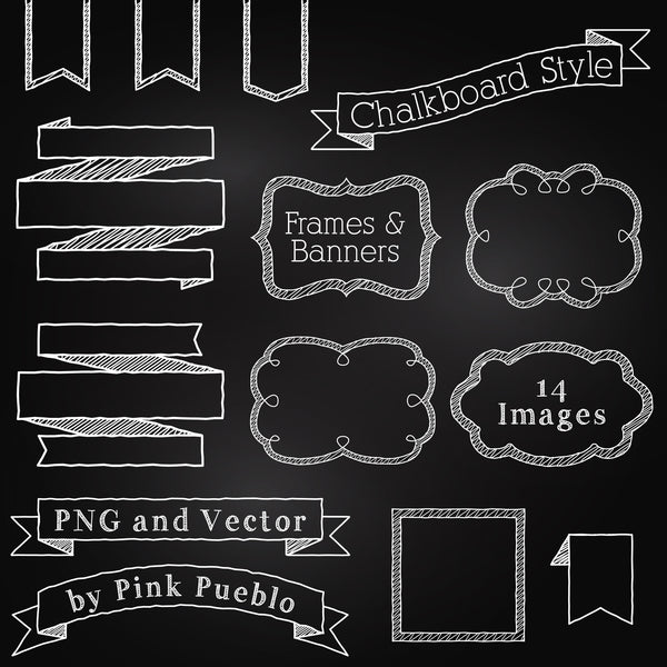 Chalkboard Elements Clipart & Vector - PinkPueblo