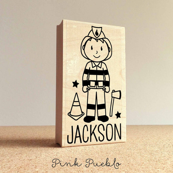 Personalized Firefighter Rubber Stamp, Custom Little Boy Firefighter Rubber Stamp - Choose Hairstyle and Accessories