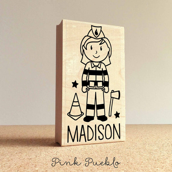 Personalized Firefighter Rubber Stamp, Custom Girl Firefighter Rubber Stamp - Choose Hairstyle and Accessories