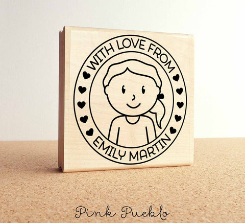 Large Personalized Girl Rubber Stamp, Custom Childrens Name - PinkPueblo