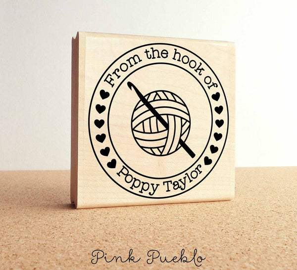 "Large 3x3"" Personalized Crochet Rubber Stamp, From the Hook of Crochet - PinkPueblo"