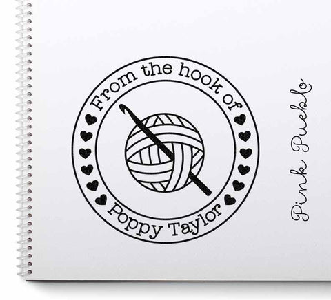 "Large 3x3"" Personalized Crochet Rubber Stamp, From the Hook of Crochet"