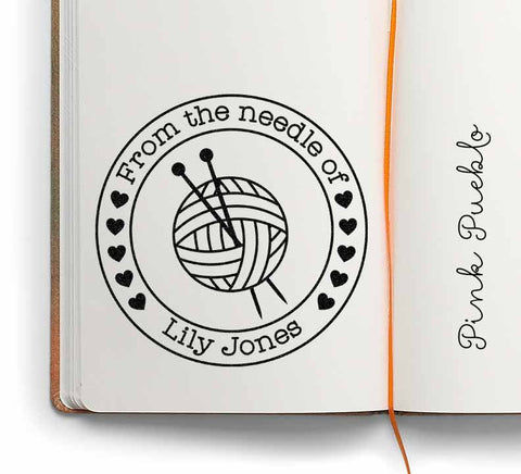 "Large 3x3"" Personalized Knitting Rubber Stamp, From the Needle Of Knitting Label Stamp - PinkPueblo"
