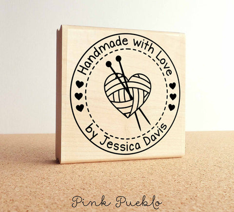 "Large 3x3"" Personalized Knitting Rubber Stamp, Handmade with Love - PinkPueblo"