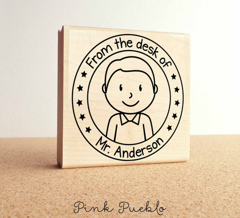 Large Personalized Male Teacher Rubber Stamp, Custom Teacher Stamp - PinkPueblo