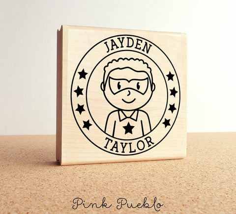 Large Personalized Superhero Boy Rubber Stamp - PinkPueblo