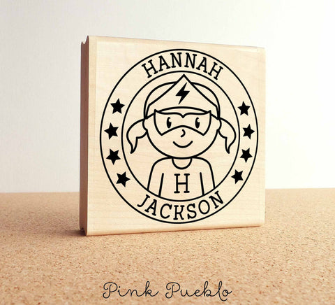 Large Personalized Superhero Girl Rubber Stamp - PinkPueblo