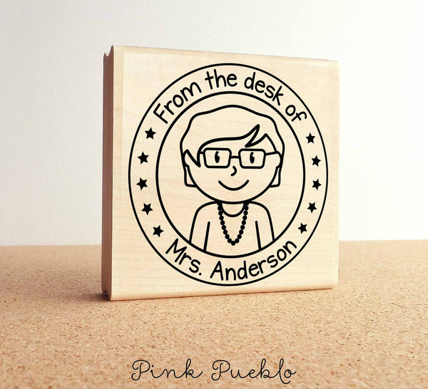 Large Personalized Teacher Rubber Stamp - PinkPueblo