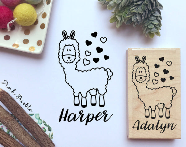 Personalized Llama Stamp, Great for DIY Llama Stationery or Llama Gifts! - PinkPueblo