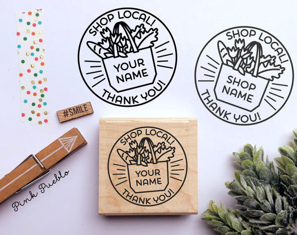 Personalized Shop Local Stamp, Shop Locally Stamp, Shop Small Stamp for Small Business - PinkPueblo