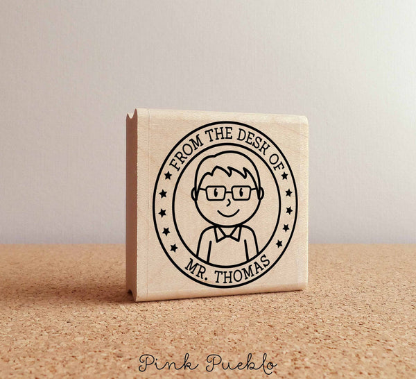 Personalized Male Teacher Rubber Stamp - PinkPueblo