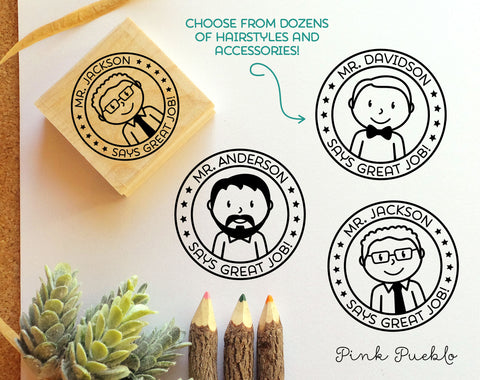 Personalized Male Teacher Rubber Stamp - Choose Text, Hairstyle - PinkPueblo