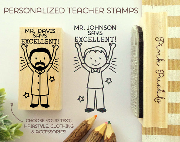 Teacher Name Stamp, Personalized Teacher Gift, Teacher Appreciation Gift - Choose Hairstyle and Clothing