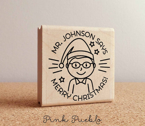 Merry Christmas Teacher Rubber Stamp, Happy Holidays Teacher Stamp, Personalized Teacher Gift - Choose Hairstyle - PinkPueblo