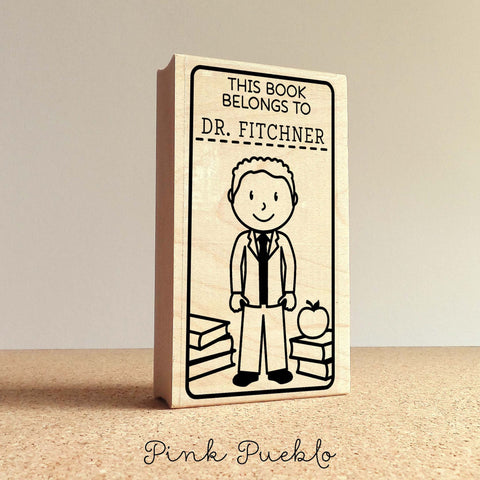 Teacher Book Stamp, Personalized Bookplate Rubber Stamp, Teacher Stamps - Choose Hairstyle, Clothing and Name - PinkPueblo