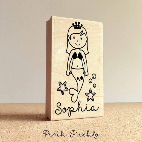 Personalized Mermaid Rubber Stamp for Children, Custom Mermaid Name Stamp - PinkPueblo