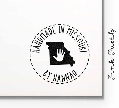 Personalized Handmade in Your State Stamp - Customize Text and State - PinkPueblo