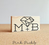 Geometric Diamond Monogram Stamp, Custom Wedding Stamp, Initials or Nameplate Stamp