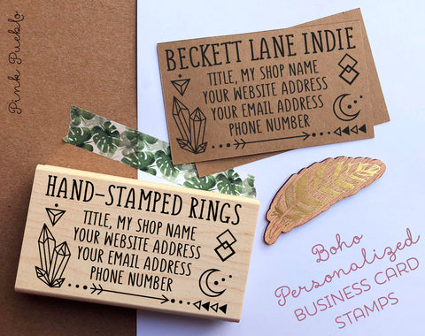 Personalized Business Boho Card Stamp, Custom Geometric Crystal Business Card Rubber Stamp